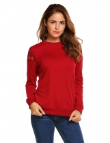 Wine red O-Neck Long Sleeve Keyhole Back Lace Shoulder Patchwork Sweatshirts