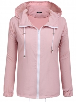 Pink Long Sleeve Hooded Wind Waterproof Lightweight Coat