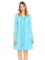Light blue Femmes O cou à manches longues volants Décor Casual Loose Fit A Line Dress