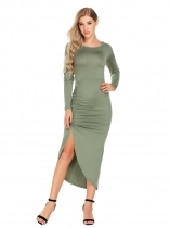 Army green Long Sleeve Backless Side Ruched Asymmetrical Dress