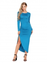 Light blue Long Sleeve Backless Side Ruched Asymmetrical Dress