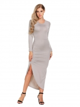 Gris clair Femmes Long Sleeveless Backless Bodycon Robe longue Split Ruched Party