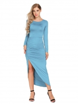 Sky blue Azul cielo Mujeres Long Sin mangas Backless Bodycon vestido largo Split Ruched Party