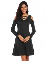 Black Long Sleeve Cold Shoulder Solid Dress