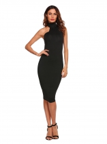 Black Solid Sleeveless Stand Collar Bodycon Dress