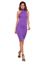 Lavender Solid Sleeveless Stand Collar Bodycon Dress