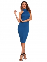 Blue Solid Sleeveless Stand Collar Bodycon Dress