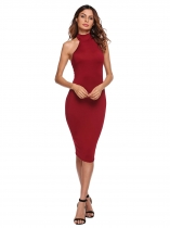 Wine red Solid Sleeveless Stand Collar Bodycon Dress