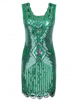Green Women Fashion Print Sequin Sleeveless Dress Wedding Evening Gown