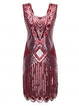 Wine red Women Fashion Print Sequin Sleeveless Dress Wedding Evening Gown