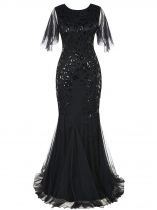 Black Women 1920's Vintage Style Print Sequin O Neck Long Prom Gowns Party Dress