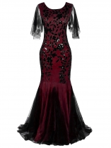 Wine red Women 1920's Vintage Style Print Sequin O Neck Long Prom Gowns Party Dress
