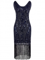 Blue Women 1920's Vintage Style Sequin Embellished O Neck Fringe Prom Party Dress