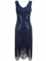 Blue Women 1920's Vintage Style Sequin Embellished V Neck Beads Fringe Party Dress