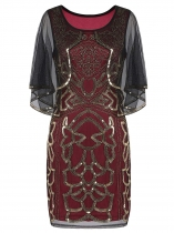 Wine red Women 1920's Vintage Style Sequin Embellished V Neck Beads Party Dress