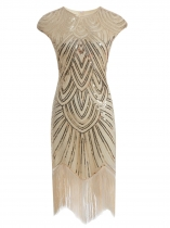 Apricot Women Vintage Style Print Sequin Beaded Fringed Sleeveless Flapper Prom Dresses