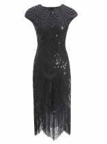 Black Women Vintage Style Print Sequin Beaded Fringed Sleeveless Flapper Prom Dresses