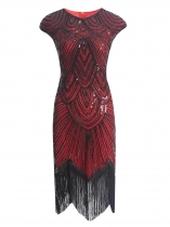Red Women Vintage Style Print Sequin Beaded Fringed Sleeveless Flapper Prom Dresses