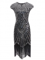 Silver Women Vintage Style Print Sequin Beaded Fringed Sleeveless Flapper Prom Dresses