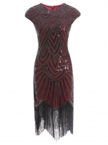 Wine red Women Vintage Style Print Sequin Beaded Fringed Sleeveless Flapper Prom Dresses