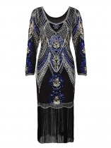 Women 1920's Vintage Style Print Sequin V Neck Flapper Cocktail Dress
