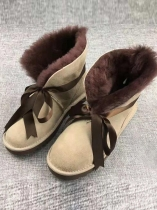 Beige Women Fashion Ribbon Lace-up Winter Warm Ankle Boots Fur Snow