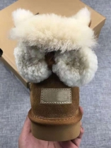 Brown Women Fashion Back Bow Winter Warm Calf Length Boots Fur Snow