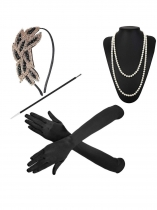 4Pcs Women 1920S Accessories Headband Necklace Gloves Cigarette Holder