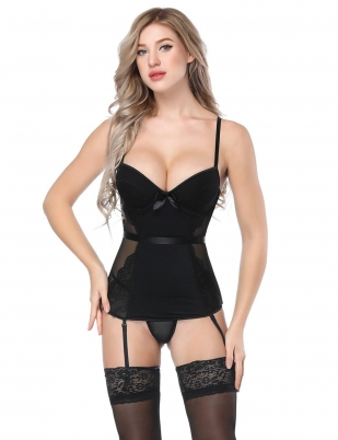 52aae8096 Black Women Underwear Shapewear Corset Sleepwear