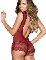 Czerwony Women Sexy Deep V-Neck Sleeveless Lace Patchwork Perspective Lingerie Babydoll