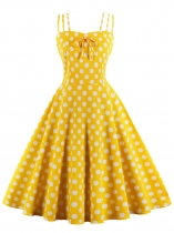 Yellow 1950s Spaghetti Strap Polka Dot Dress