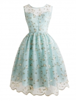 Blue green Women Fashion Vintage Style Floral Embroidery Mesh Cocktail Dress