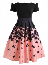 Women Fashion Vintage Style Butterfly Printed Slash Shoulder Big Skirt Dress