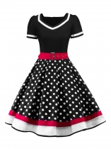 Black Women Fashion Vintage Style Dot Print Patchwork V Neck Big Skirt Dress