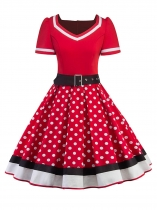 Red Women Fashion Vintage Style Dot Print Patchwork V Neck Big Skirt Dress