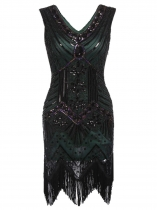Dark green Women 1920's Vintage Style Print Sequin Sleeveless V Neck Flapper Party Dress