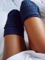 Deep blue Solid Knitted Thigh-High Socks