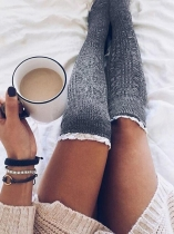 Light gray Solid Knitted Thigh-High Lace Socks