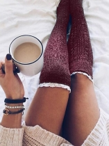 Wine red Solid Knitted Thigh-High Lace Socks