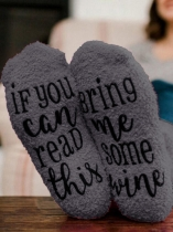 Grey Bring Me Some Wine Socks