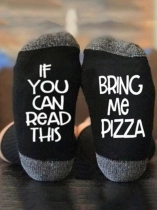 Black BRING ME PIZZA Casual Socks