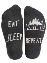 Black Eat Sleep Fortnite Repeat Socks