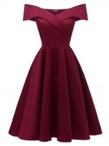 Wine red Women Vintage Style Solid Off Shoulder Sleeveless Party Prom Dress