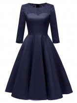 Navy blue Women Vintage Style Lace Patchwork Three-quarter Sleeve Party Prom Dress