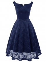 Blue Women Vintage Style Lace Floral V Neck Sleeveless Slim Cocktail Dress
