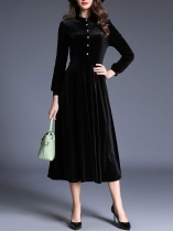 Black Women Elegant Style Velvet Solid Standing Collar Long Sleeve Front Button Dress