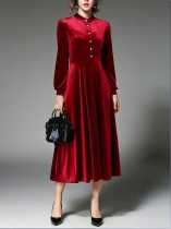 Wine red Women Elegant Style Velvet Solid Standing Collar Long Sleeve Front Button Dress