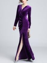 Purple Women Elegant Style Velvet Solid Pleated V Neck Long Sleeve Split Dress