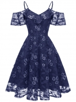 Blue Women Fashion Floral Lace Cold Shoulder Ruffle Cocktail Dress