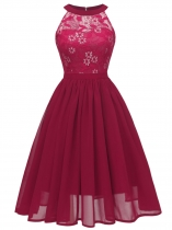Wine red Women Fashion Floral Lace Sleeveless Flare Midi Dress